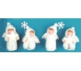 Anděl v bílém kožíšku cca 10 cm, 1 figurka