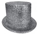 Cylindr karnevalový 25 cm stříbrný