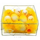 Kuřátka plyšová 8 ks á 4 cm a 3 vajíčka á 3,5 cm