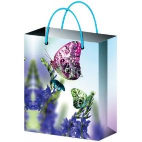 Taška Dárková celoroční světle modrá s motýly L 32 x 26 x 12,7 cm