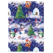Ditipo Vánoční balicí papír pro děti bílo-tm.modrý stromeček,sněhulák 100 x 70, 2 kusy