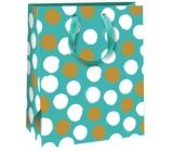 Ditipo Dárková papírová taška tyrkysová, bílé a zlaté puntíky 18 x 10 x 22,7 cm QC Glitter