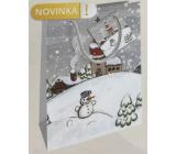 Nekupto Dárková papírová taška 14 x 11 x 6,5 cm Vánoční zimní krajina sněhulák WBS