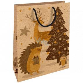 Nekupto Dárková kraftová taška 28 x 37 cm Vánoční ježek 604 WKHL