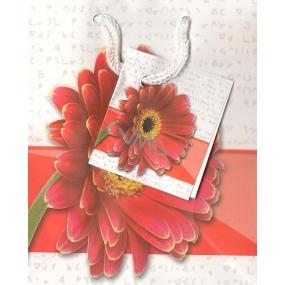 Nekupto Dárková papírová taška malá 14 x 11 x 6,5 cm Bílá s červenou gerberou, 091 KAS