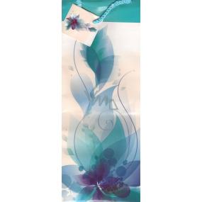 Nekupto Dárková papírová taška na láhev ALH Bílo tyrkysová s kytkou 36 x 12 x 9 cm