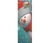 Nekupto Dárková papírová taška na láhev 909 40 WLH tyrkysová Červený sněhulák 33 x 10 x 9 cm