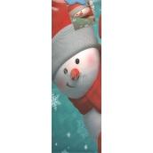 Nekupto Dárková papírová taška na láhev 33 x 10 x 9 cm tyrkysová Červený sněhulák 909 40 WLH