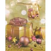 Anděl Taška vánoční dárková zlatá, vánoční ozdoby M 23 x 18 x 10 cm