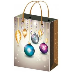 Anděl Taška vánoční dárková bílo-zlatá baňky L 32 x 26 x 12,7 cm