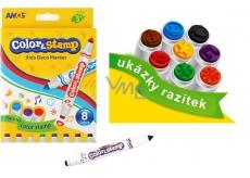 Amos Color & Stamp fixy s razítky 8 barev