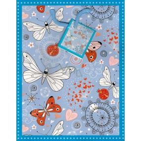 Nekupto Dárková papírová taška střední 1014 40 KFM modrá s motýlky 23 x 18 x 10 cm