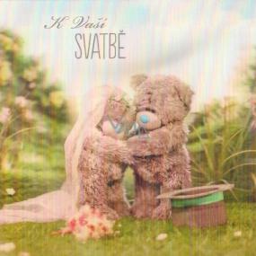 Albi Me To You Blahopřání do obálky 3D K svatbě Svatební medvídci v přírodě 15,5 x 15,5 cm