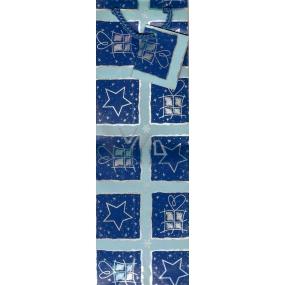 Nekupto Dárková papírová taška na láhev 33 x 10 x 9 cm modrá dárky GLH