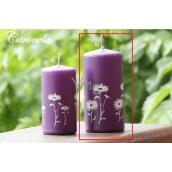 Lima Citronela svíčka proti komárům vonná repelentní s motivem květin fialová válec 60 x 120 mm