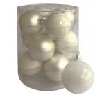 Sada skleněných baněk bílých 5,7 cm, 12ks