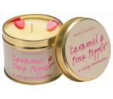 Bomb Cosmetics Karamel a růžový pepř Vonná přírodní, ručně vyrobena svíčka v plechové dóze hoří až 35 hodin