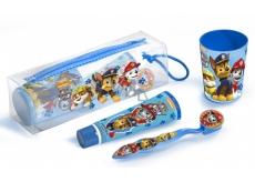 Paw Patrol Kartáček na zuby + zubní pasta + kelímek + kosmetická taštička pro děti dárková sada