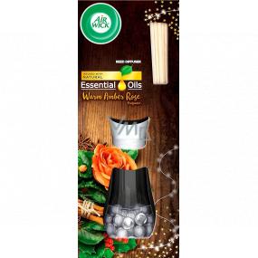 Air Wick Reed Diffuser Essential Oils Warm Amber Rose - Vůně jantarové růže vonné tyčinky osvěžovač vzduchu 30 ml
