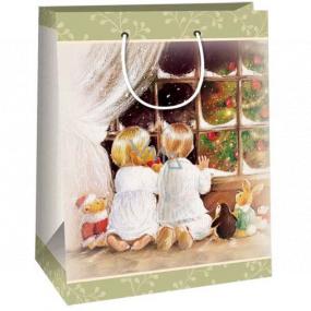 Ditipo Dárková kraftová taška 2 x 10 x 29 cm klečící děti u okna