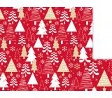 Nekupto Dárkový balicí papír 70 x 200 cm Vánoční Červený bílé, zlaté stromky