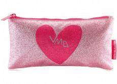 Miquelrius Pouzdro na psací potřeby růžové se srdcem 22,5 x 11,5 x 1 cm