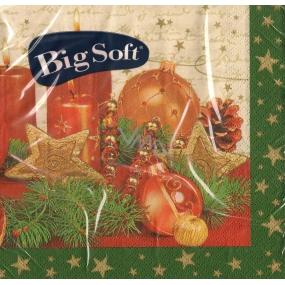Big Soft Vánoční papírové ubrousky Svíčky a baňky zelený okraj 33 x 33 cm 2 vrstvé 20 kusů