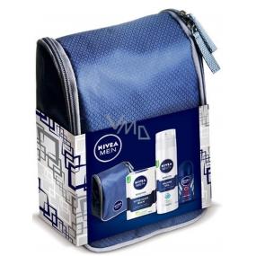 Nivea Sensitive balzám po holení 100 ml + Sensitive gel na holení 200 ml + Dry Impact kuličkový antiperspirant deodorant roll-on 50 ml + kosmetická taštička,pro muže kosmetická sada