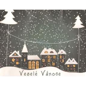 Nekupto Dárková kraftová taška střední 229 WCM Veselé Vánoce sněžení 23 x 18 x 10 cm