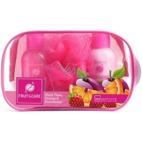 Idc Institute Fruit & Care Black Plum, Orange a Strawberry Cestovní set sprchový gel 100 ml + tělové mléko 100 ml + mycí houbička + etue, kosmetická sada