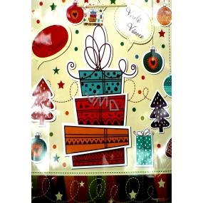 Nekupto Dárková papírová taška největší 46 x 33 x 10,5 cm Vánoční 904 02 WBXL