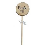 Bohemia Gifts & Cosmetics Dřevěný zápich k bylinkám s potiskem - Bazalka průměr kolečka je 5 - 8 cm