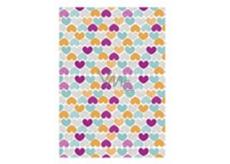 Ditipo Balící papír bílý barevná srdíčka 100 x 70 cm 2 kusy