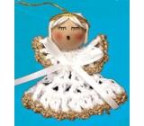 Háčkovaný andílek se zlatým lemováním na zavěšení 6 cm