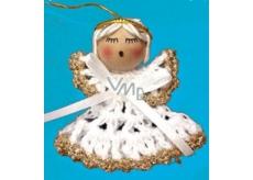 Háčkovaný andílek se zlatým lemováním 6 cm