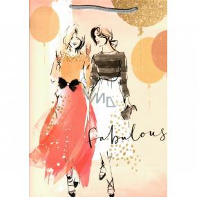 Ditipo Dárková papírová taška 26,4 x 32,5 x 13,5 cm oranžová dvě ženy