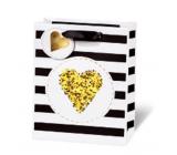 BSB Luxusní dárková papírová taška 23 x 19 x 9 cm Golden Glitter Srdce LDT 409 - A5