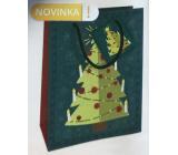 Nekupto Dárková papírová taška 14 x 11 x 6,5 cm Vánoční zelená stromeček WBS