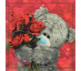 Me To You Blahopřání do obálky 3D Medvídek s kyticí červených růží 15 x 15 cm