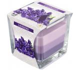 Bispol Lavender - Levandule tříbarevná vonná svíčka sklo, doba hoření 32 hodin 170 g