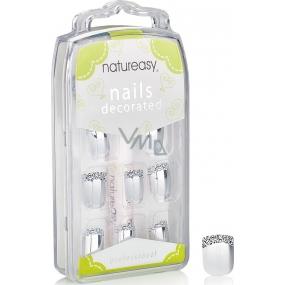 Diva & Nice Natureasy Nails Decorated nalepovací nehty stříbrné s černo-bílou aplikací 24 kusů + lepidlo 2 g