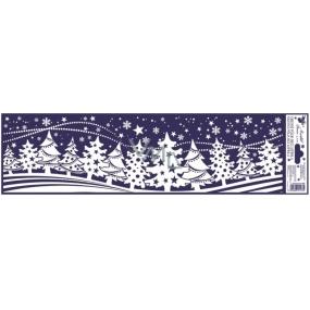 Okenní fólie bez lepidla vánoční krajinka pruh les 45 x 12 cm