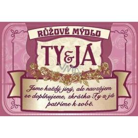 Albi Růžové mýdlo v plechovce s textem Ty + Já 8 x 5,4 cm