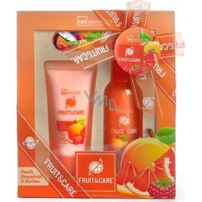 Idc Institute Fruit & Care Peach, Grapefruit & Berries sprchový gel 100 ml + tělové mléko 60 ml + pilník na nehty 1 kus, kosmetická sada