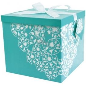 Dárková krabička skládací s mašlí 02 Zelená XXL 30 x 30 x 17 cm