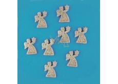 Andílci zlatí s glitry 3,3 cm, 8 kusů v krabičce