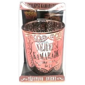 Albi Třpytivý svícen ze skla na čajovou svíčku NEJLEPŠÍ KAMARÁDKA díky za to, že jsi, 7 cm
