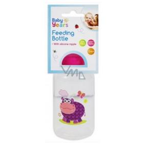 First Steps Safari 0+ kojenecká láhev Hroch fialový 150 ml