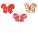 Motýl látkový zápich 8 cm + špejle květiny