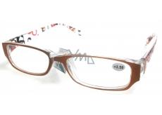 Berkeley Čtecí dioptrické brýle +1,5 plast oranžovo hnědé stranice s obdelníky 1 kus MC2084